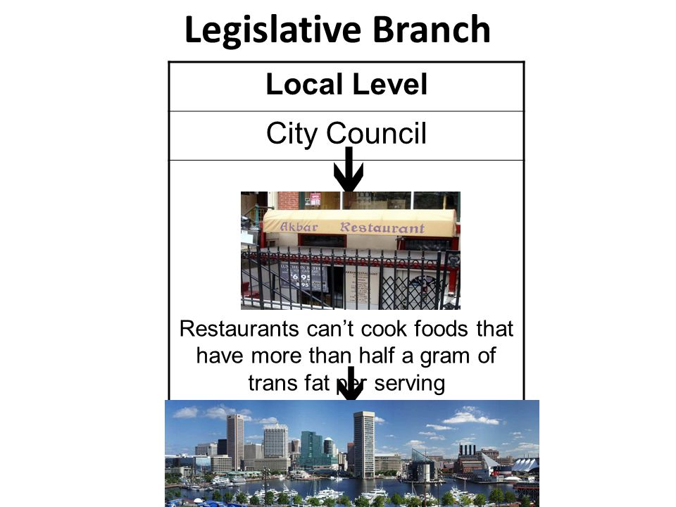 Legislative Branch Local Level City Council Restaurants can't cook foods that have more than half a gram of trans fat per serving