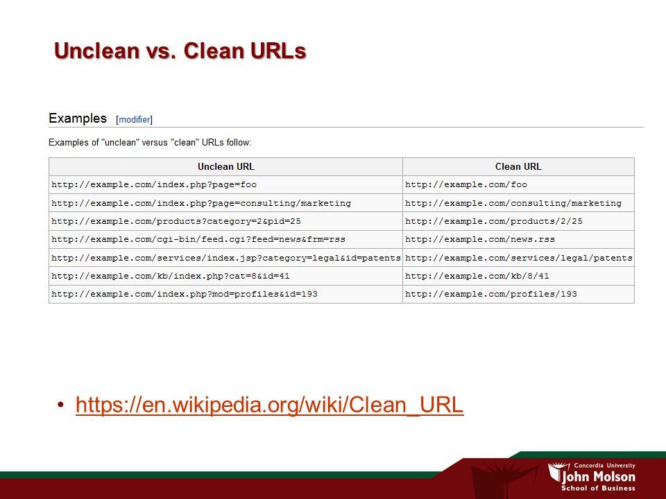 Unclean vs. Clean URLs https://en.wikipedia.org/wiki/Clean_URL