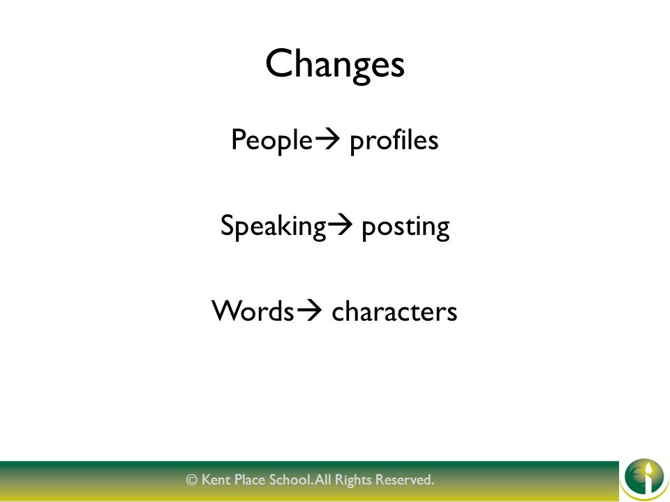 Changes People  profiles Speaking  posting Words  characters © Kent Place School.