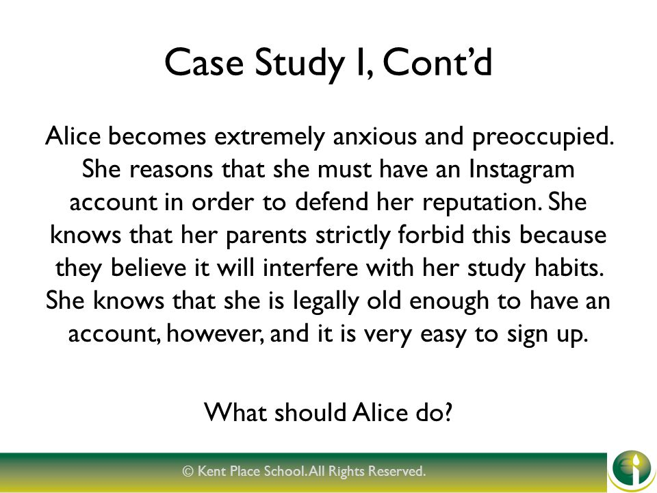 Case Study I, Cont'd Alice becomes extremely anxious and preoccupied.