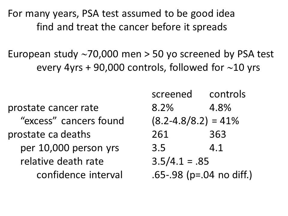 For many years, PSA test assumed to be good idea find and treat the cancer before it spreads European study  70,000 men > 50 yo screened by PSA test every 4yrs + 90,000 controls, followed for  10 yrs screenedcontrols prostate cancer rate8.2%4.8% excess cancers found(8.2-4.8/8.2) = 41% prostate ca deaths261363 per 10,000 person yrs3.54.1 relative death rate3.5/4.1 =.85 confidence interval.65-.98 (p=.04 no diff.)