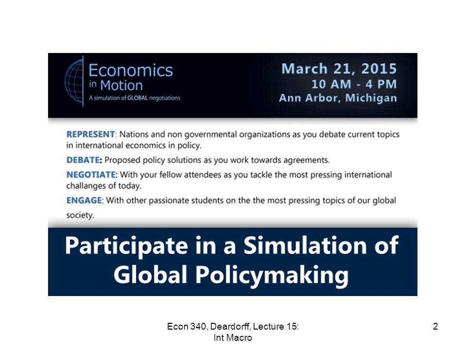 Lecture 15 International Macroeconomics Econ 340