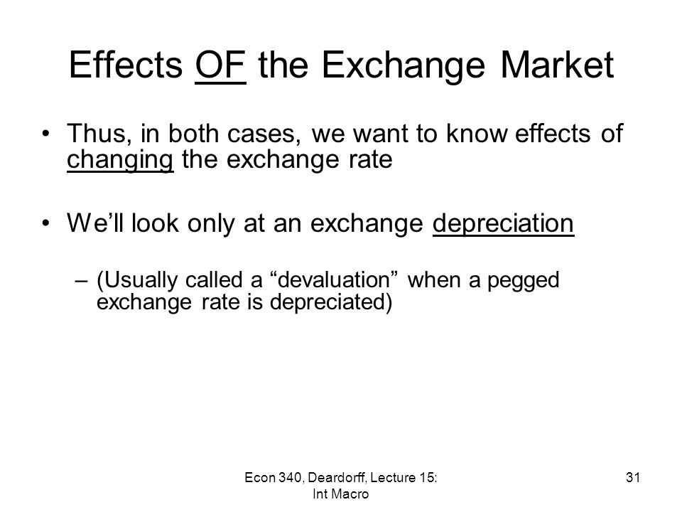 Effects OF the Exchange Market Under a pegged exchange rate, the exchange market has little effect on the economy unless the pegged rate itself is changed –Exception: without sterilization, domestic money supply is sensitive to trade and capital flows Under a floating exchange rate, movement of the exchange rate can matter a lot 30Econ 340, Deardorff, Lecture 15: Int Macro