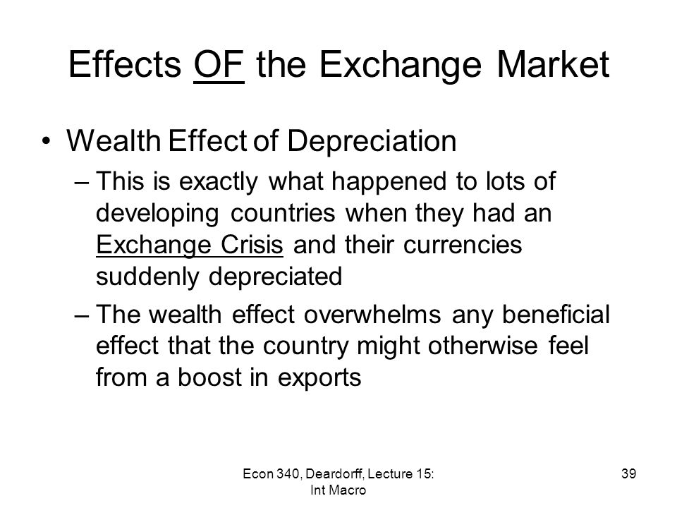 Effects OF the Exchange Market Case 2: Before E = 10 p/$ Assets Liabilities Net Wealth in pesosin $ −900 p = 1000 p = (100 $) −90 $ ≈ 80 $ = −90 $ = (+10 $)100 p −10 $ After E = 12 p/$ Initial Bankrupt.