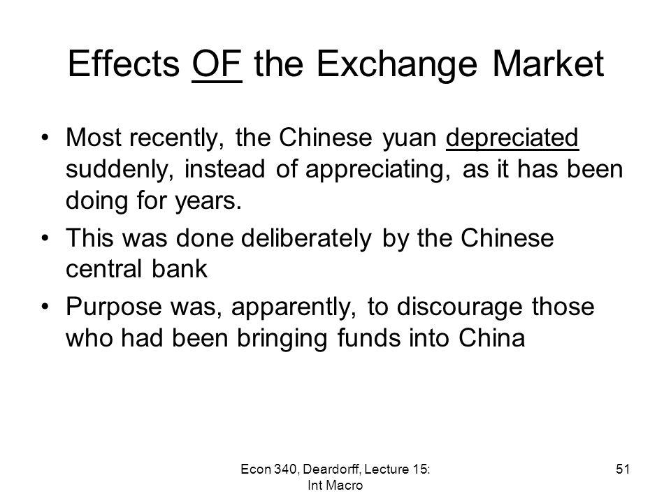 Econ 340, Deardorff, Lecture 14: Pegging 50 US$/Yuan 2.7%