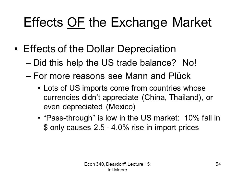 Effects OF the Exchange Market 53Econ 340, Deardorff, Lecture 15: Int Macro