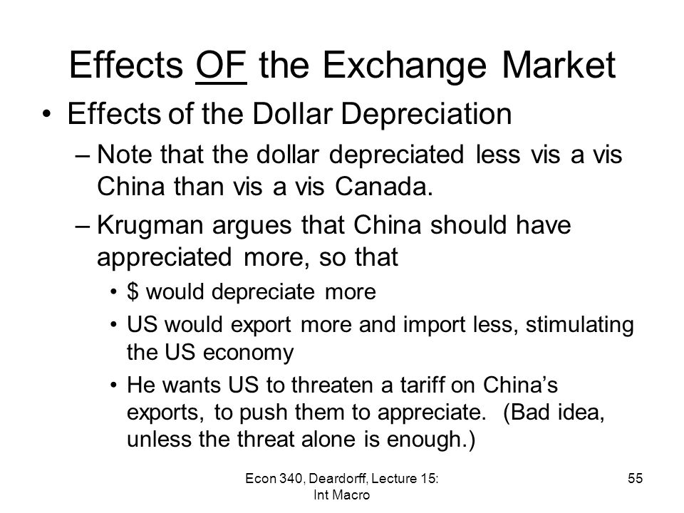 Effects OF the Exchange Market Effects of the Dollar Depreciation –Did this help the US trade balance.