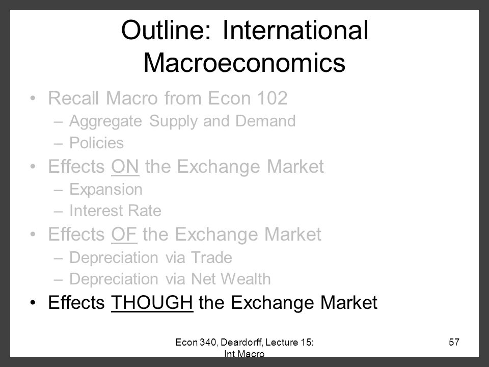 Effects OF the Exchange Market Effects of the Dollar Depreciation –Perry, in contrast to Krugman, thinks that the US benefits from the failure of the Chinese currency to appreciate Consumers, especially low-income, benefit from cheap imported consumer goods.