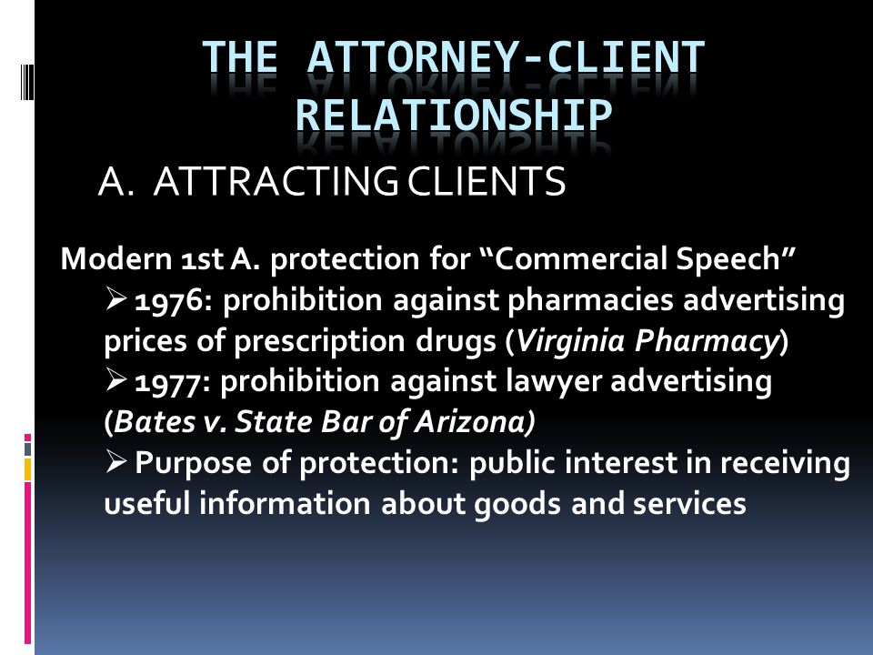 """A. ATTRACTING CLIENTS Modern 1st A. protection for """"Commercial Speech""""  1976: prohibition against pharmacies advertising prices of prescription drugs"""