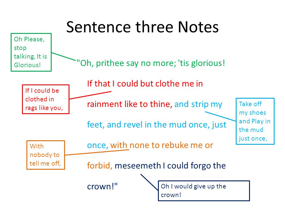 Sentence three Notes Oh, prithee say no more; tis glorious.