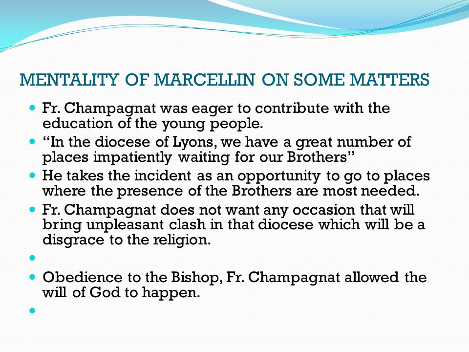 MENTALITY OF MARCELLIN ON SOME MATTERS Fr.
