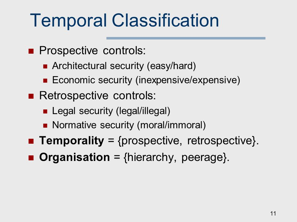 Temporal Classification Prospective controls: Architectural security (easy/hard) Economic security (inexpensive/expensive) Retrospective controls: Legal security (legal/illegal) Normative security (moral/immoral) Temporality = {prospective, retrospective}.