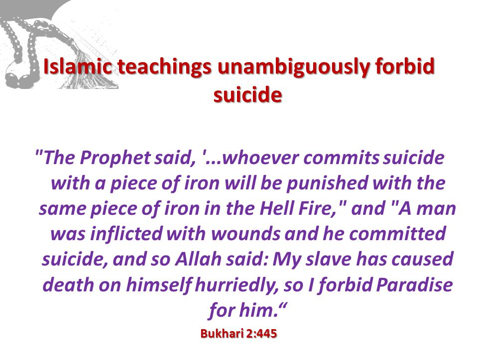 Islamic teachings unambiguously forbid suicide The Prophet said, ...whoever commits suicide with a piece of iron will be punished with the same piece of iron in the Hell Fire, and A man was inflicted with wounds and he committed suicide, and so Allah said: My slave has caused death on himself hurriedly, so I forbid Paradise for him. Bukhari 2:445