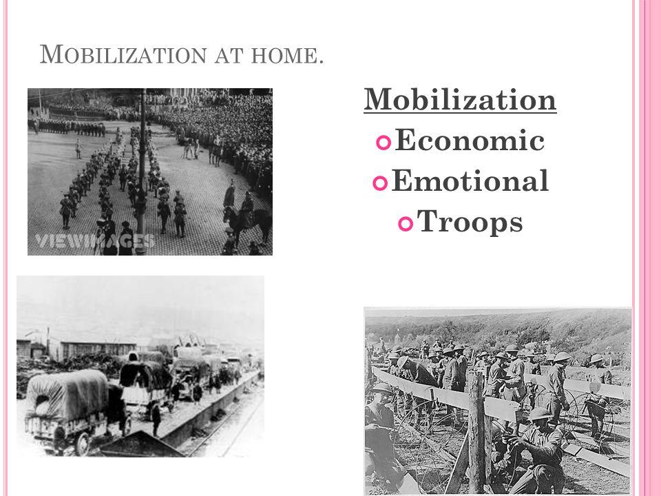 M OBILIZATION AT HOME. Mobilization Economic Emotional Troops