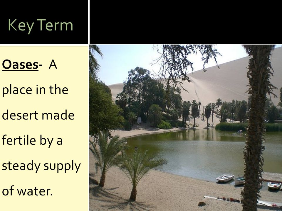 Key Term Oases- A place in the desert made fertile by a steady supply of water.