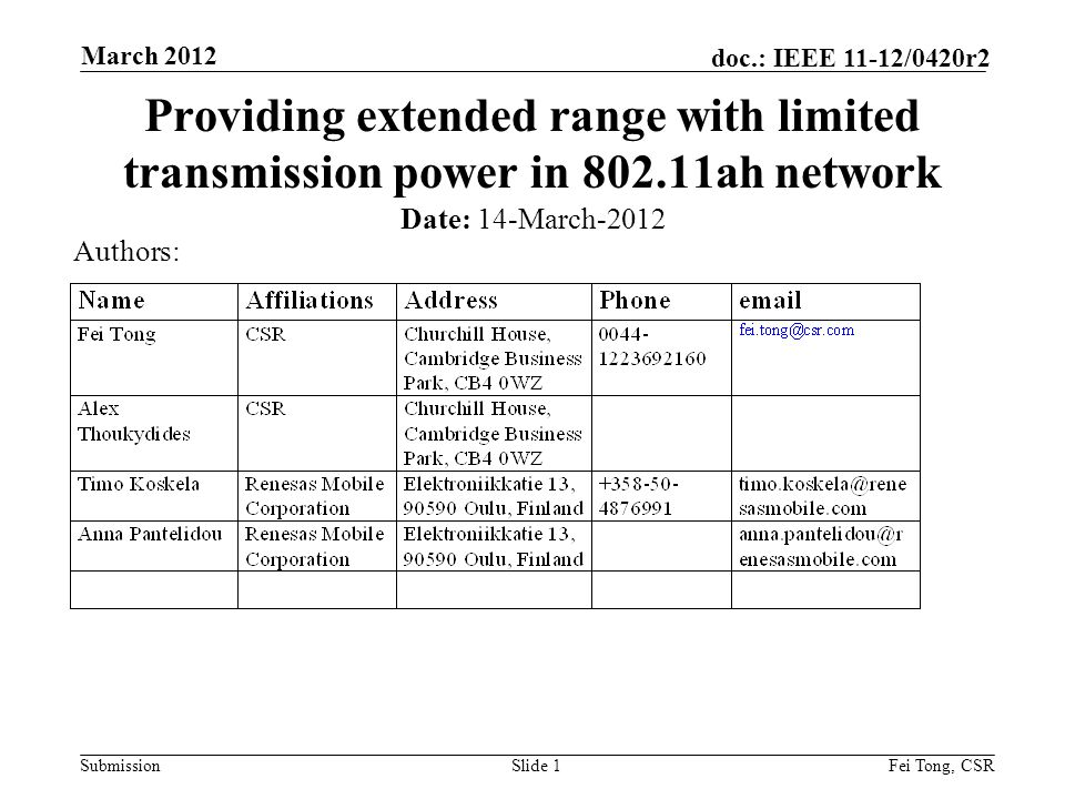 Submission doc.: IEEE 11-12/0420r2 March 2012 Fei Tong, CSRSlide 1 Providing extended range with limited transmission power in 802.11ah network Date: