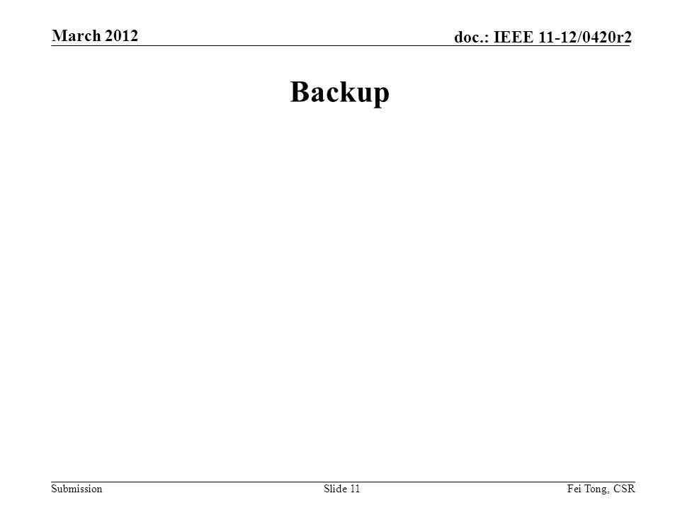 Submission doc.: IEEE 11-12/0420r2 Backup Slide 11Fei Tong, CSR March 2012