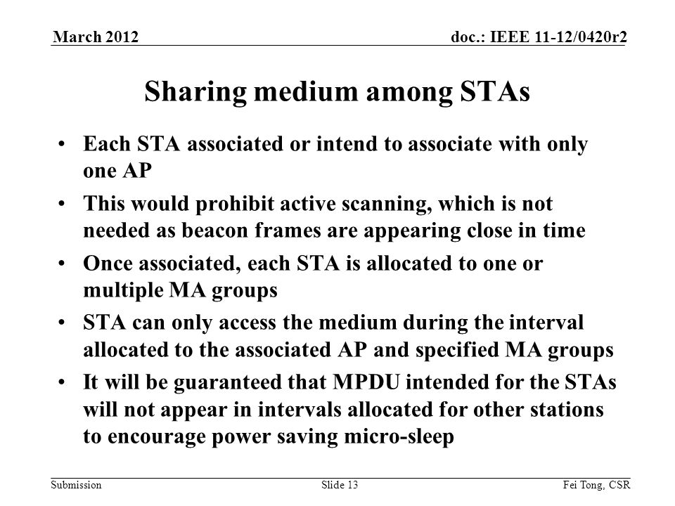 Submission doc.: IEEE 11-12/0420r2March 2012 Fei Tong, CSRSlide 13 Sharing medium among STAs Each STA associated or intend to associate with only one