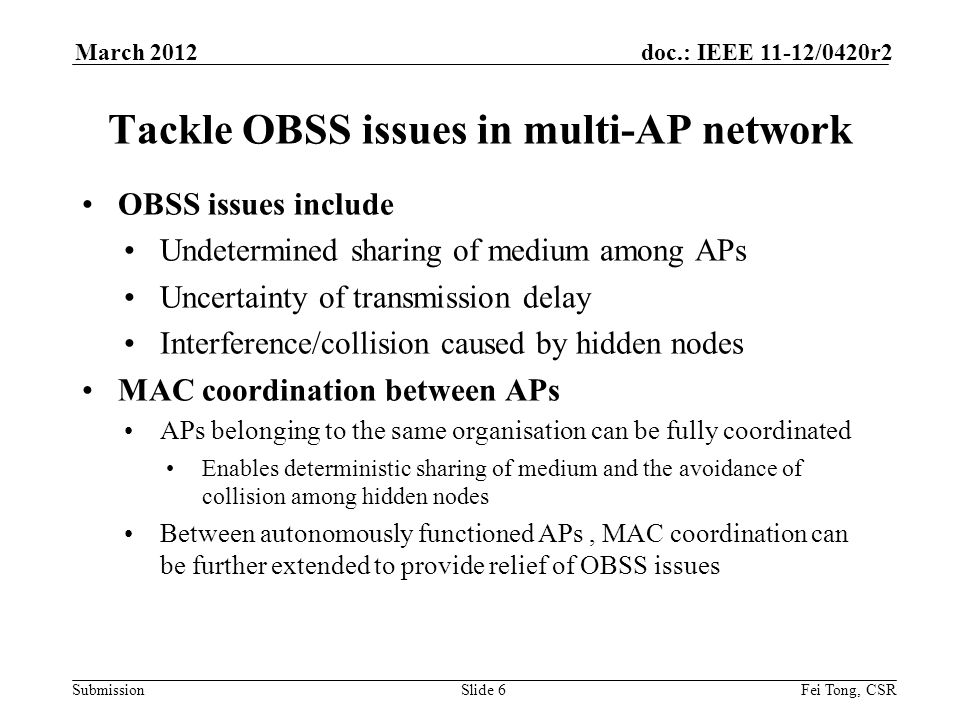 Submission doc.: IEEE 11-12/0420r2 Coordinated multiple APs Communication between APs can be through wired/wireless link Using message relay as in mesh network for wireless inter-AP link A logic resource manager function controlling the resource allocation How to achieve coordination between APs is open Slide 7Fei Tong, CSR March 2012