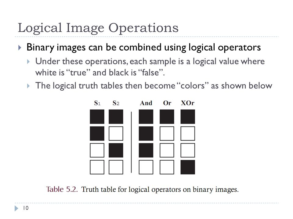 Logical Image Operations  Binary images can be combined using logical operators  Under these operations, each sample is a logical value where white