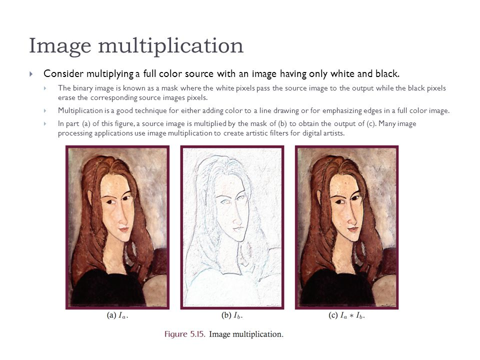 Image multiplication  Consider multiplying a full color source with an image having only white and black.