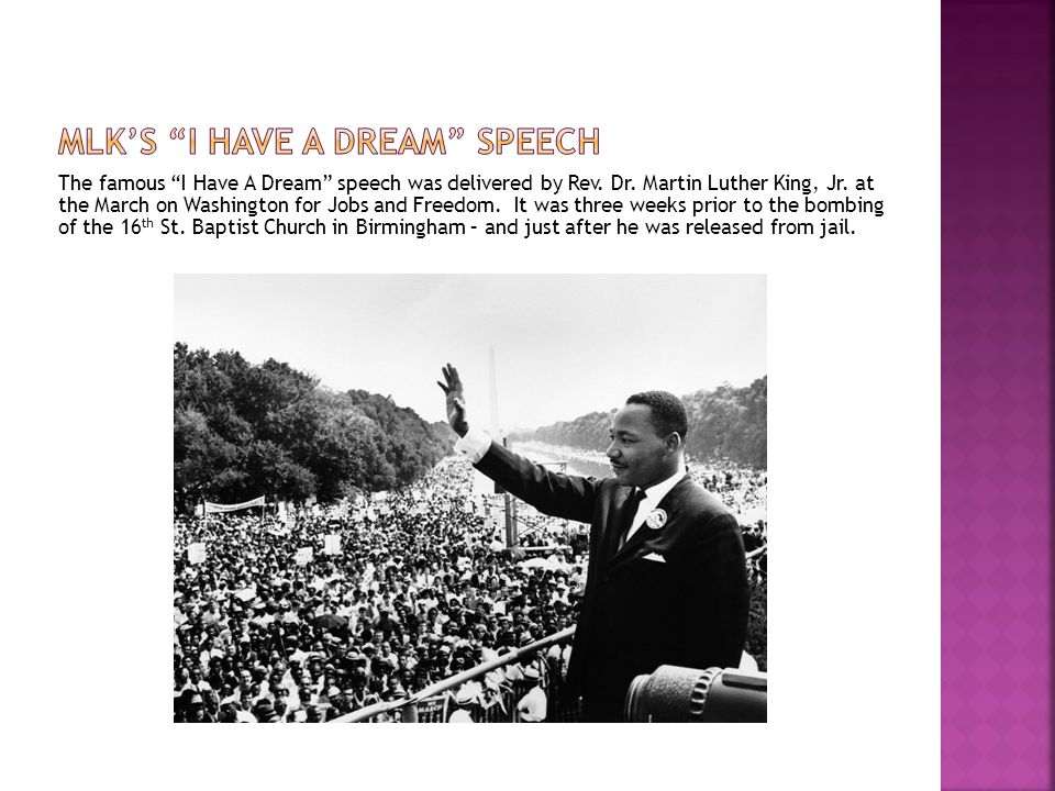 The famous I Have A Dream speech was delivered by Rev.
