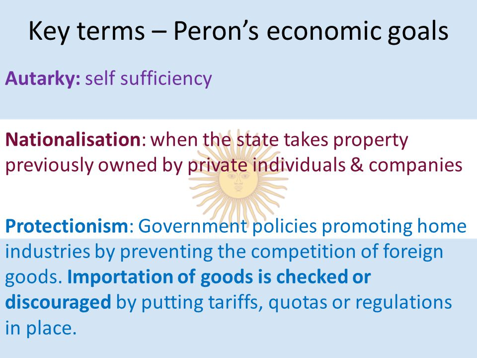 Key terms – Peron's economic goals Autarky: self sufficiency Nationalisation: when the state takes property previously owned by private individuals & companies Protectionism: Government policies promoting home industries by preventing the competition of foreign goods.