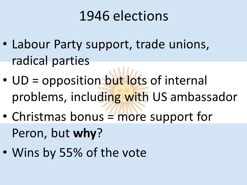 1946 elections Labour Party support, trade unions, radical parties UD = opposition but lots of internal problems, including with US ambassador Christm