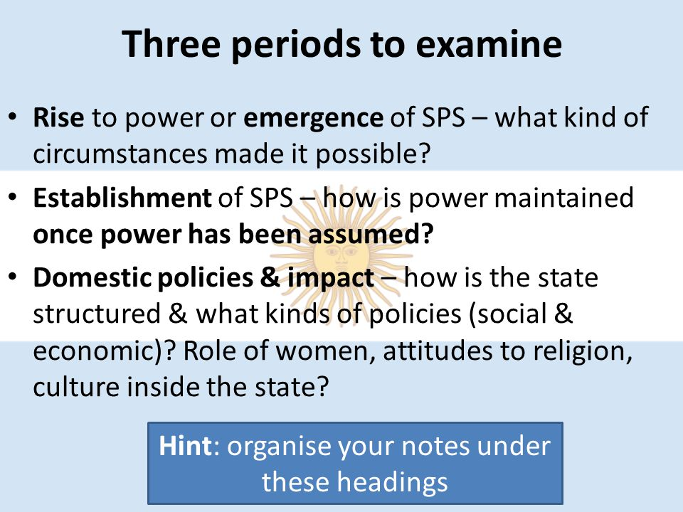 Three periods to examine Rise to power or emergence of SPS – what kind of circumstances made it possible? Establishment of SPS – how is power maintain