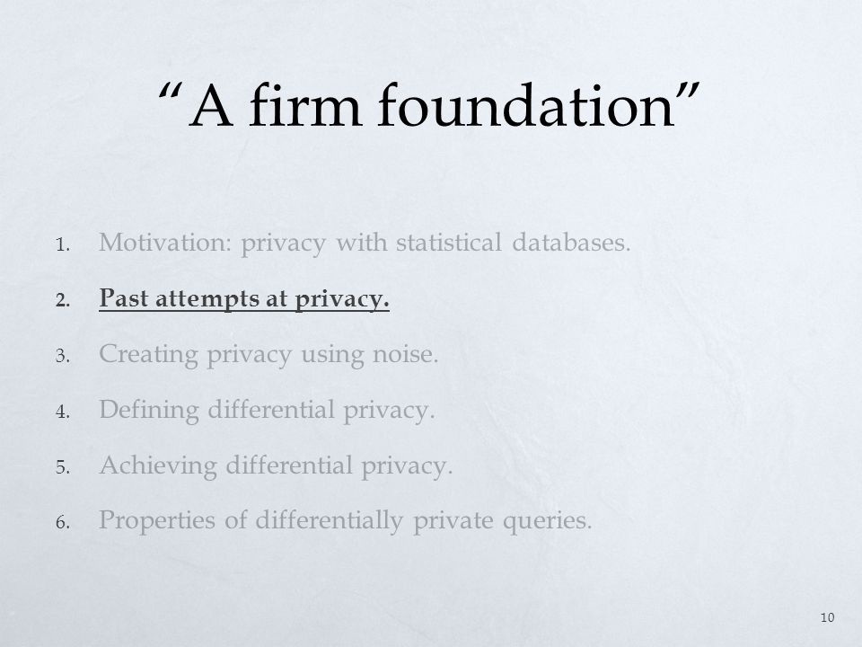 A firm foundation 1. Motivation: privacy with statistical databases.