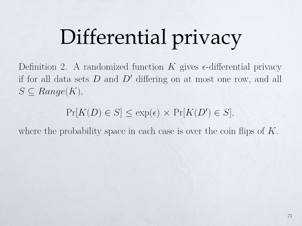 Differential privacy 21