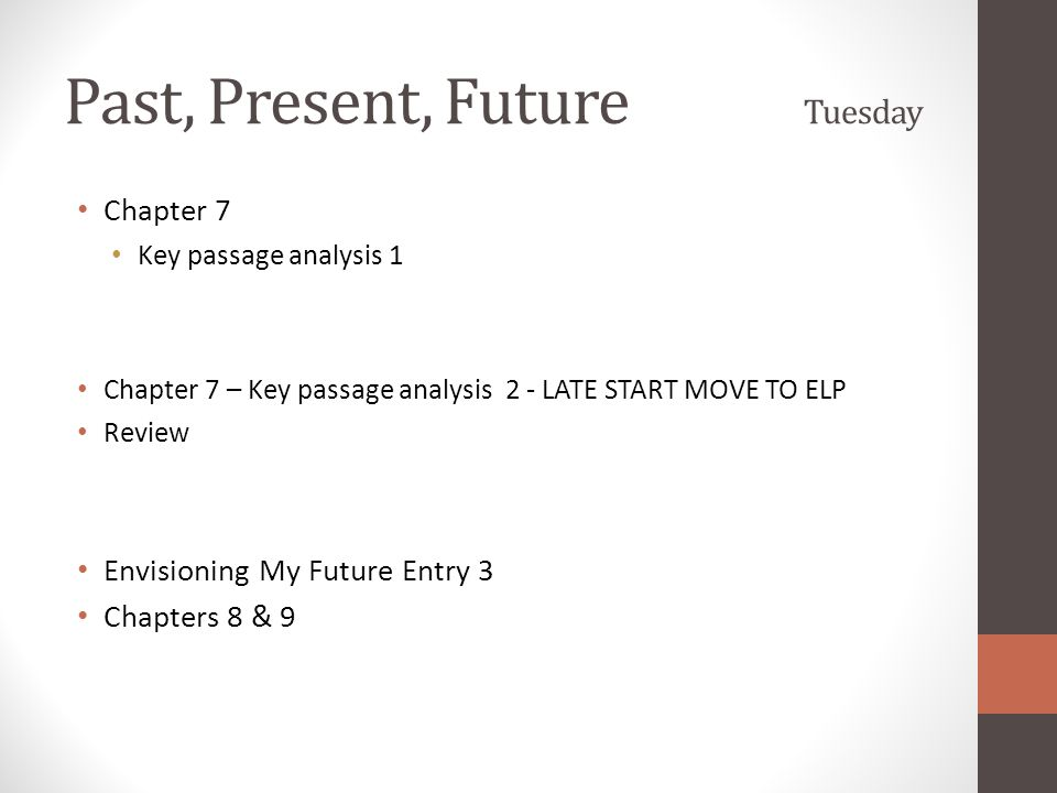 Past, Present, Future Tuesday Chapter 7 Key passage analysis 1 Chapter 7 – Key passage analysis 2 - LATE START MOVE TO ELP Review Envisioning My Future Entry 3 Chapters 8 & 9
