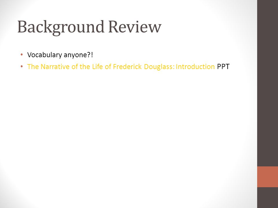 Background Review Vocabulary anyone .