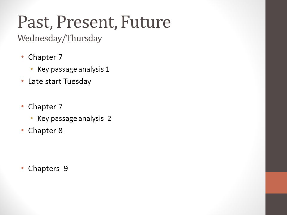 Past, Present, Future Wednesday/Thursday Chapter 7 Key passage analysis 1 Late start Tuesday Chapter 7 Key passage analysis 2 Chapter 8 Chapters 9
