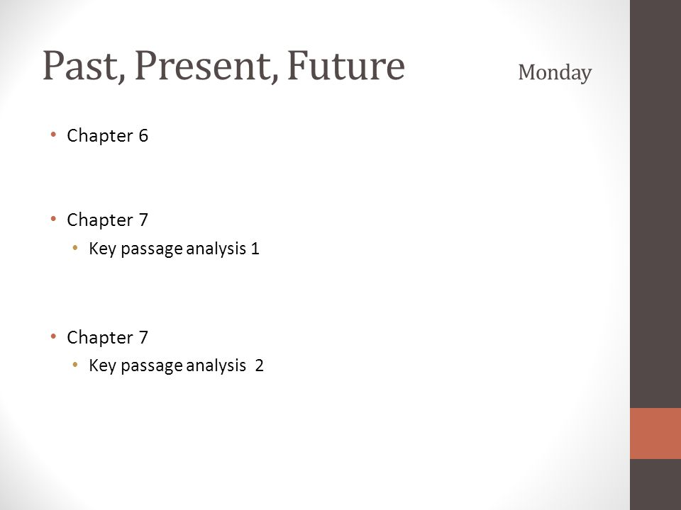 Past, Present, Future Monday Chapter 6 Chapter 7 Key passage analysis 1 Chapter 7 Key passage analysis 2