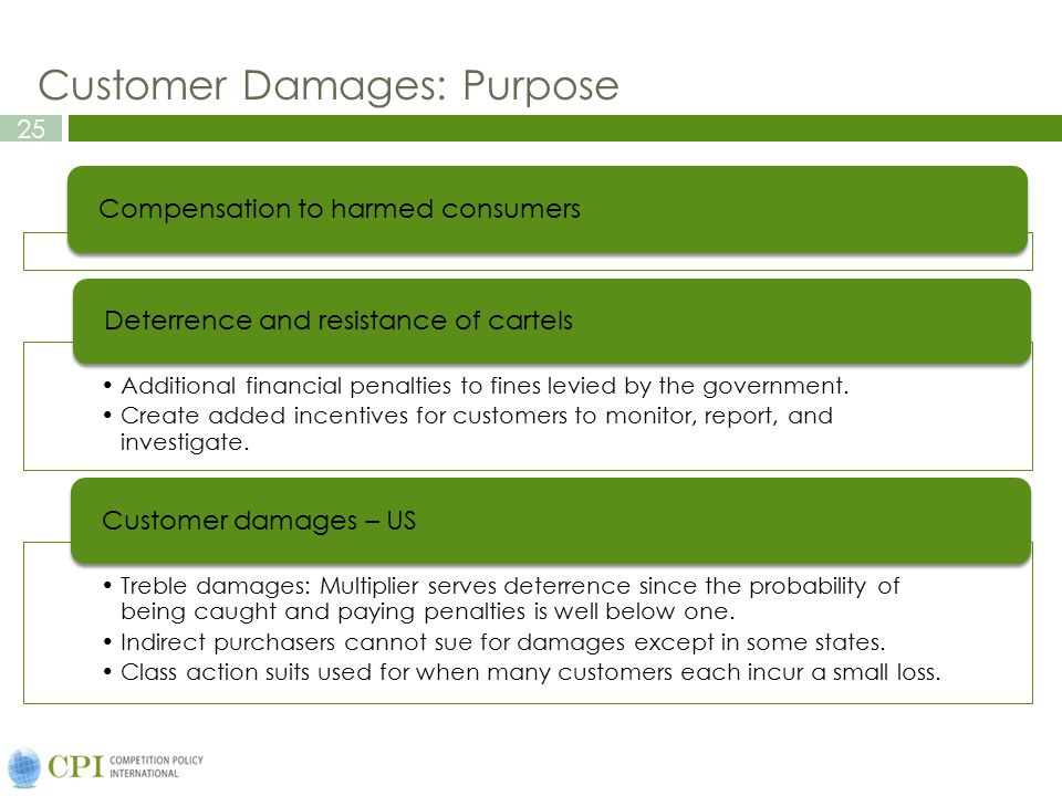 25 Customer Damages: Purpose Compensation to harmed consumers Additional financial penalties to fines levied by the government.