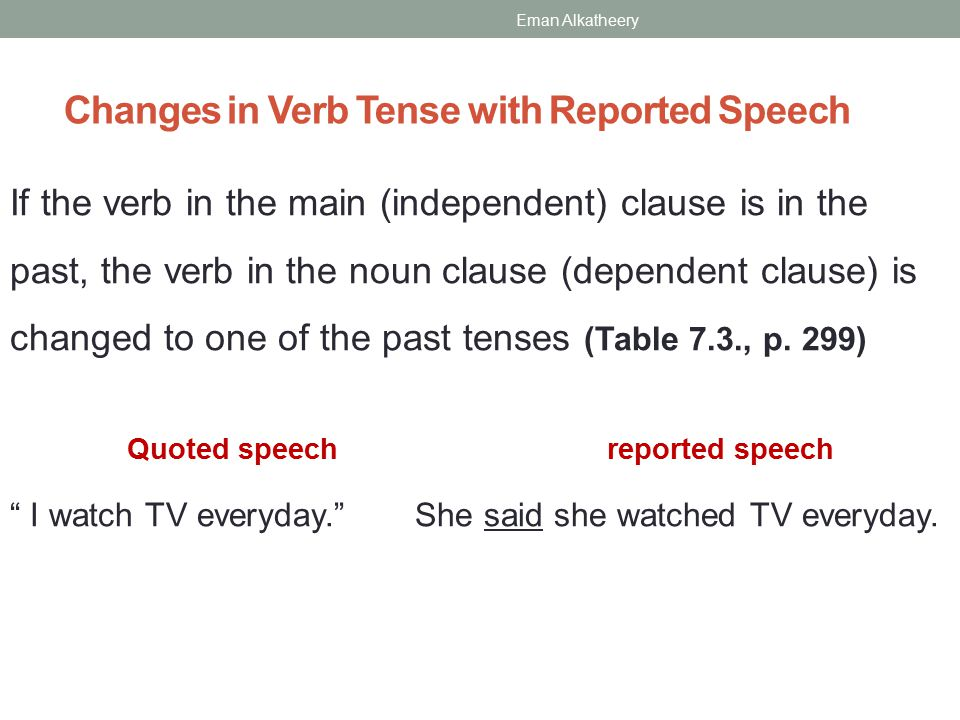 Changes in Verb Tense with Reported Speech If the verb in the main (independent) clause is in the past, the verb in the noun clause (dependent clause) is changed to one of the past tenses (Table 7.3., p.