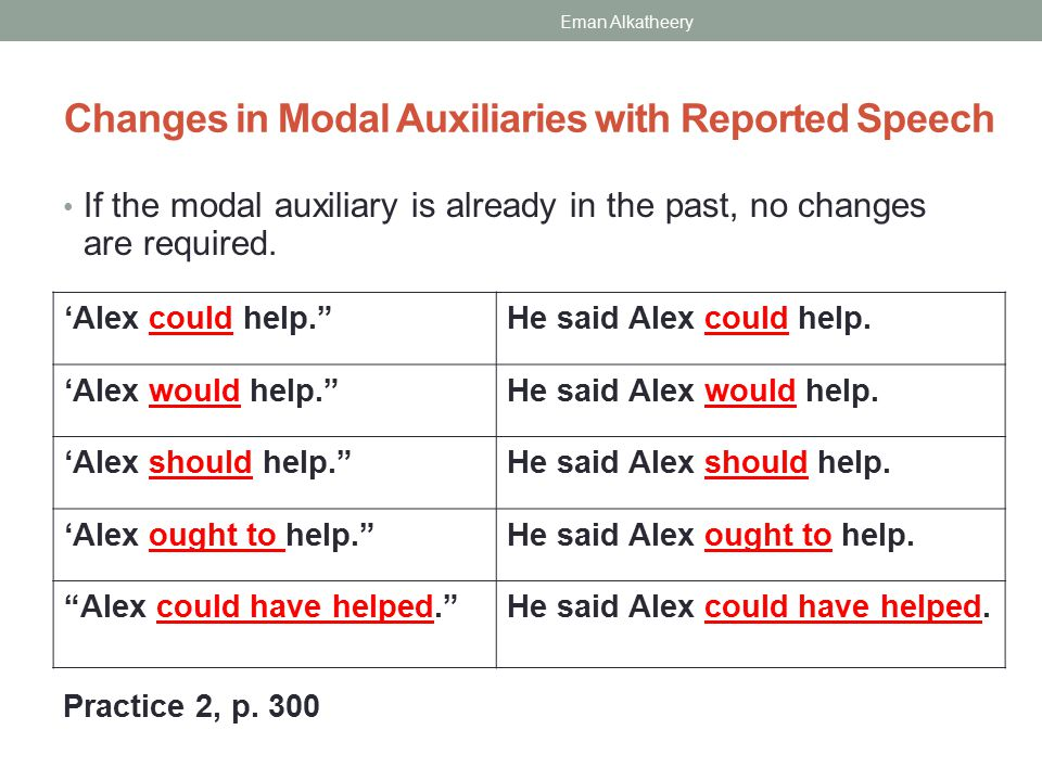 Changes in Modal Auxiliaries with Reported Speech If the modal auxiliary is already in the past, no changes are required.