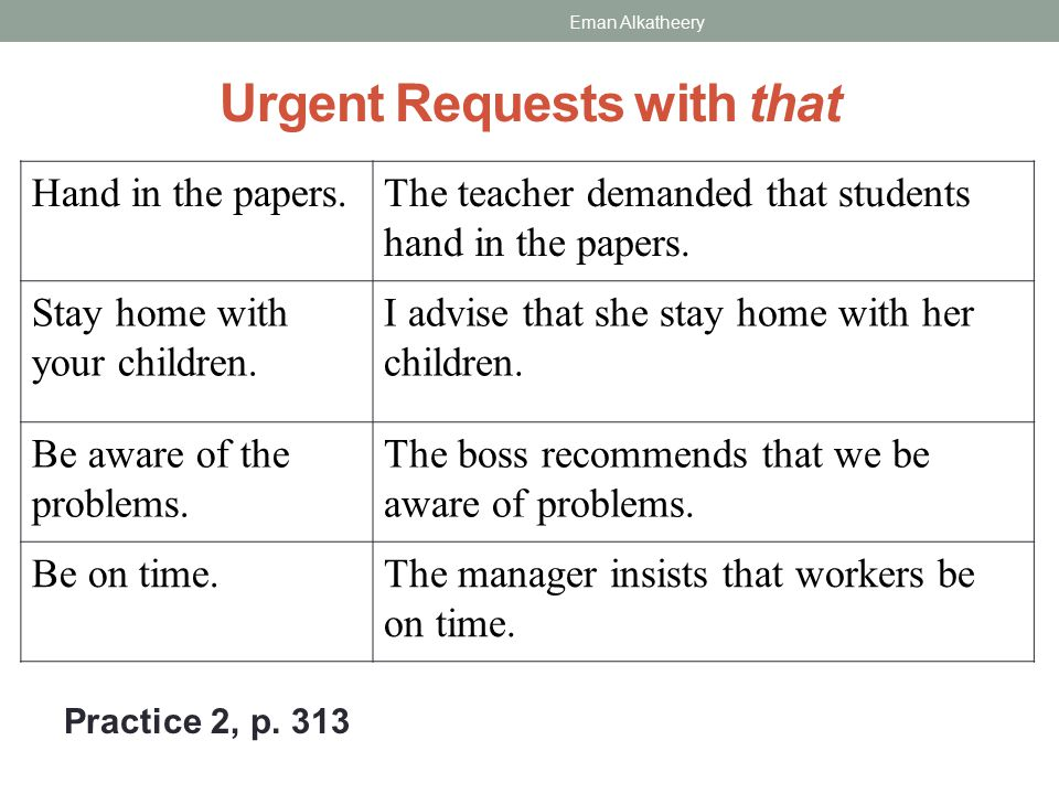 Urgent Requests with that Practice 2, p.313 The teacher demanded that students hand in the papers.