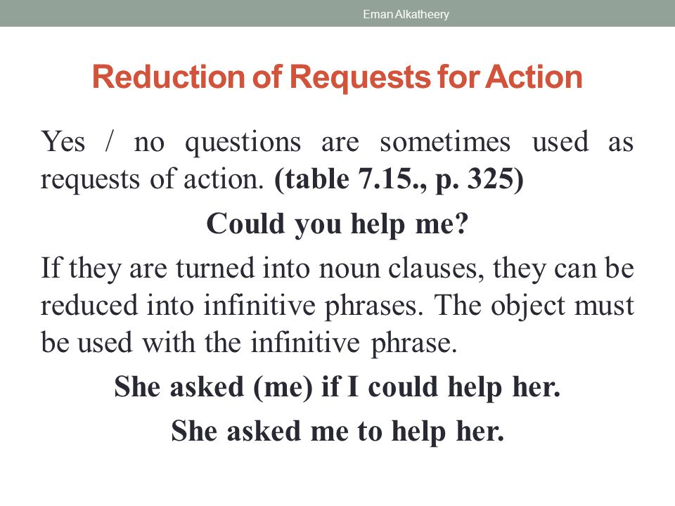 Reduction of Requests for Action Yes / no questions are sometimes used as requests of action.