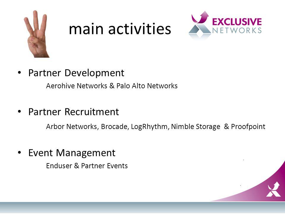 main activities Partner Development Aerohive Networks & Palo Alto Networks Partner Recruitment Arbor Networks, Brocade, LogRhythm, Nimble Storage & Proofpoint Event Management Enduser & Partner Events