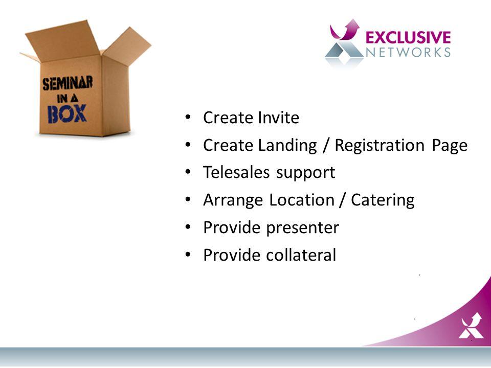 Seminar in a Box Create Invite Create Landing / Registration Page Telesales support Arrange Location / Catering Provide presenter Provide collateral