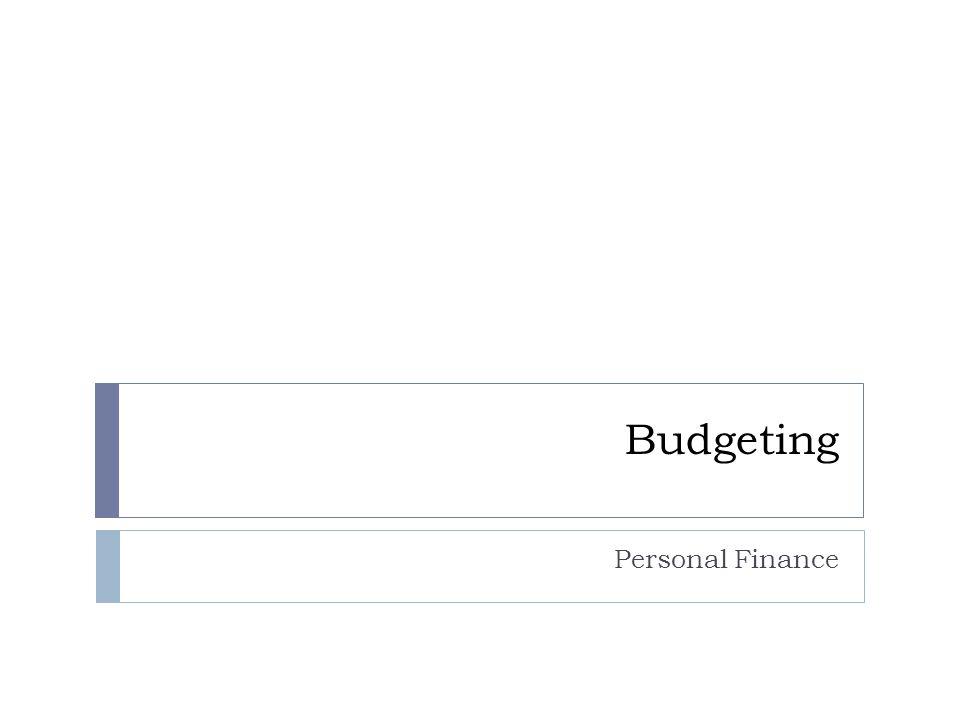 Budgeting Personal Finance