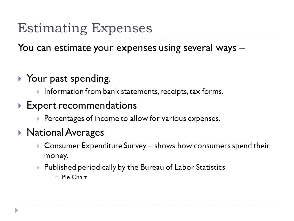 Estimating Expenses You can estimate your expenses using several ways –  Your past spending.