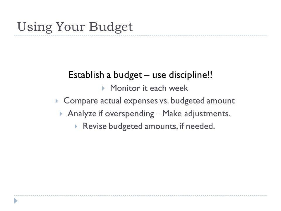 Using Your Budget Establish a budget – use discipline!.