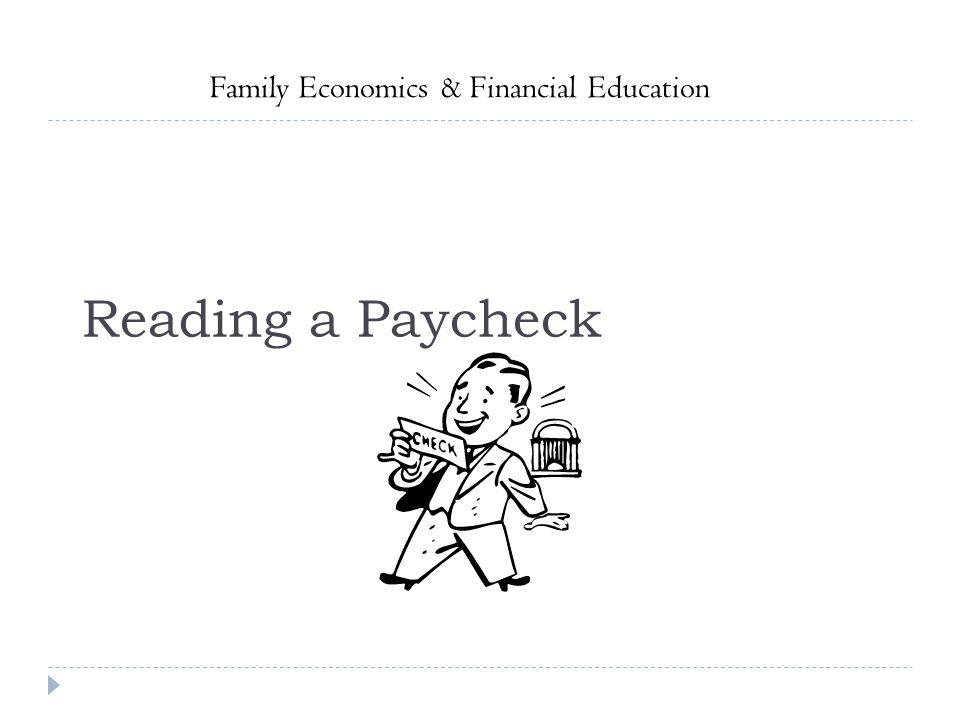 Reading a Paycheck Family Economics & Financial Education