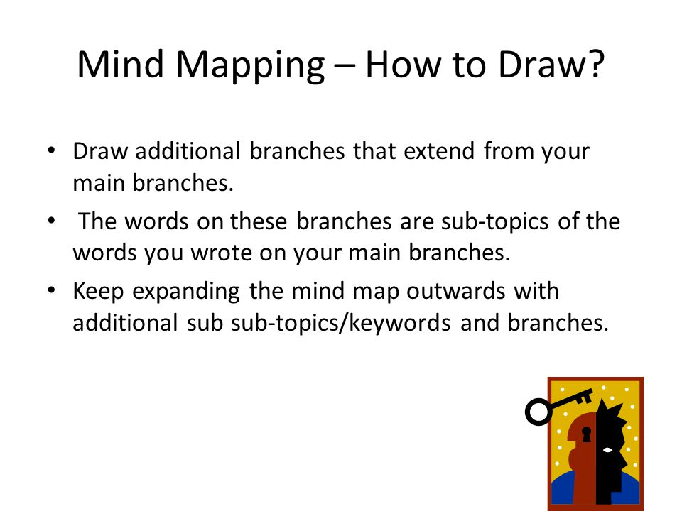 Mind Mapping – How to Draw. Draw additional branches that extend from your main branches.