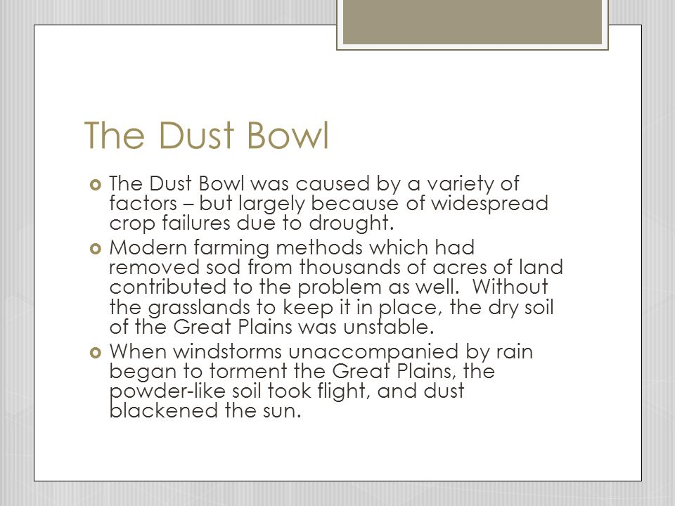 The Dust Bowl  The Dust Bowl was caused by a variety of factors – but largely because of widespread crop failures due to drought.