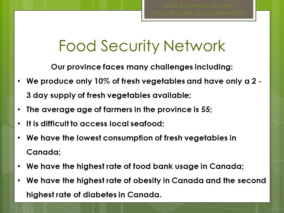 MUN Botanical Garden Food Security and Sustainability FSN: 10 Ways to Eat Local Food 10. Sprout!
