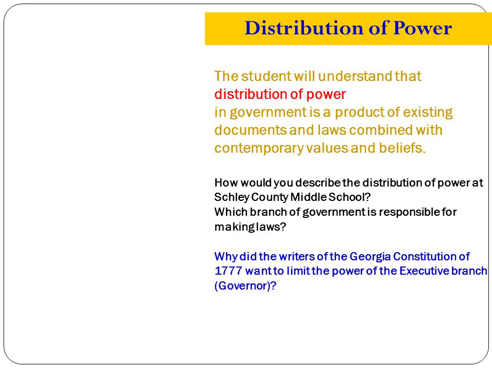 The student will understand that distribution of power in government is a product of existing documents and laws combined with contemporary values and